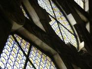 Particolare di vetrata a rulli legata a Piombo